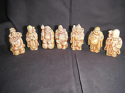 Vintage Set Of 7 Gods Of Good Fortune Japanese Collectible Figures