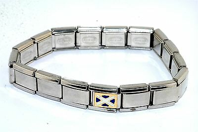 Italy Charmed Expressions Stainless Steel Stretchy Bracelet Gold Flag