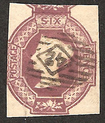 1847-54 SG59 GB 6d Dull Lilac 3 MARGINS USED