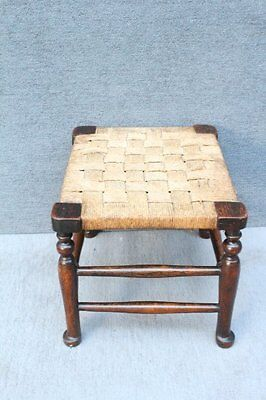 Edwardian stool raised on pad feet with weaved rope seat farmhouse rustic style