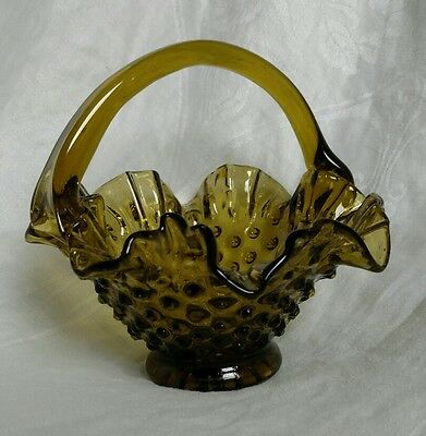 Fenton Olive Green Hobnail Glass Basket Candy Bowl Excellent condition