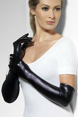 Womens Wet Leather Look Gloves PVC Opera Length Fever Genuine