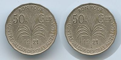 G2680 - Guadeloupe 50 Centimes 1921 SEHR RAR KM#45 French Colony