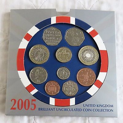 2005 ROYAL MINT UK BRILLIANT UNCIRCULATED 10 COIN SET - sealed pack