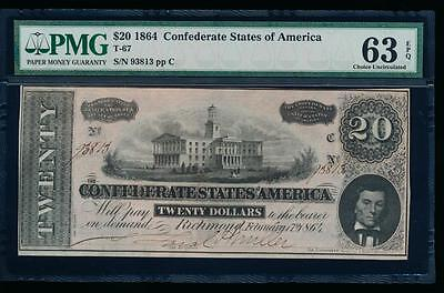 AC T-67 $20 1864 Confederate CSA PMG 63 EPQ uncirculated!