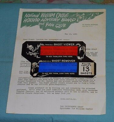 original WILLIAM CASTLE FAN CLUB LETTER and 13 GHOSTS -- GHOST VIEWER