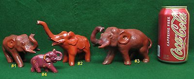 4 Red Antique 1930s Ceramic India Elephants- Highly Collectable - Lot
