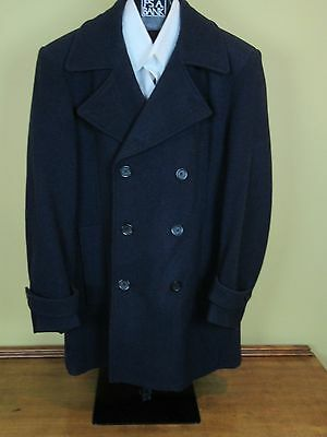 $495 New Jos A Bank Executive Blue Wool Peacoat double breasted topcoat  L