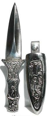 Engraved Silvertone Boot Athame  w/Sheath -- Durable