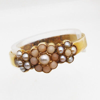 Antique Victorian Ring 15k Gold Coral Pearl Petite Signed Birmingham 1858(#6127)