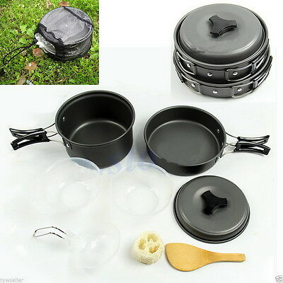 8pcs Outdoor Camping Hiking Cookware Non-stick Picnic Cooking Bowl Pot Pan Set M