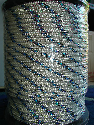 10mm x 100m Polyester Double Braided YACHT Rope ~Blue/black~STRONG 1692kg
