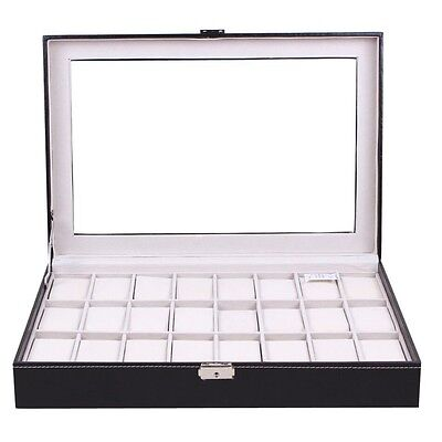 24 Grids Leather Watch Display Case Jewelry Collection Storage Holder Box New