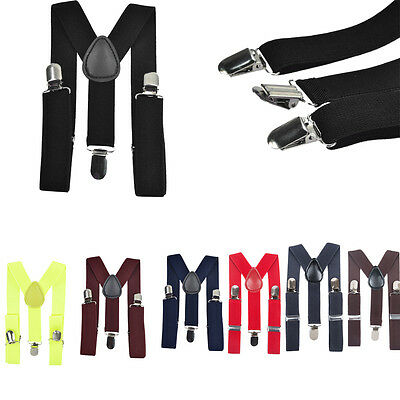 Children Kids Boy Girls Toddler Clip-on Suspenders Elastic Adjustable Braces US