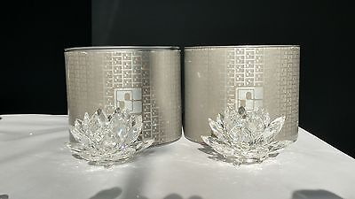 Pair Swarovski Crystal Waterlily Lotus Flower Candleholders 7600 123 000 w/ BOX
