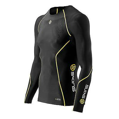 Skins A200 Mens Cycling/Bike Compression Long Sleeve Top - Black - Small