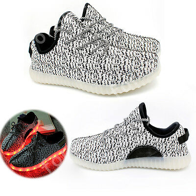 Gray Unisex 7 LED Light Lace Up Luminous Shoes Sportswear Sneaker Casual Shoes