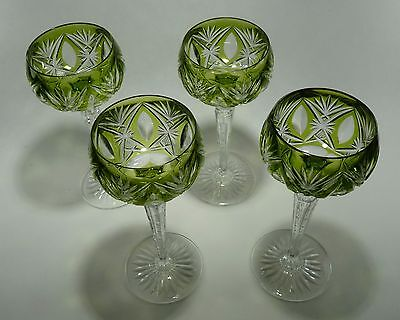 Val St Lambert Chartreuse Green Cut to Clear Crystal Goblets Wine Set of 4