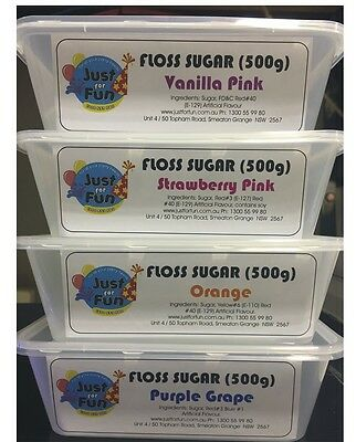 4 x Floss Sugar (500 grams) Cotton Candy, Fairy Floss Sugar (RTU) Flossine