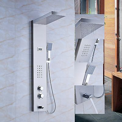 Thermostatic Wall Mount Shower Panel Shower Column Jets Tub Spout Hand Shower