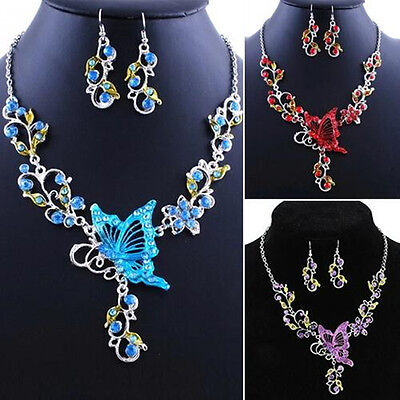 Necklace Earrings New Jewelry Set Rhinestone Splendid Pendant Butterfly Flower