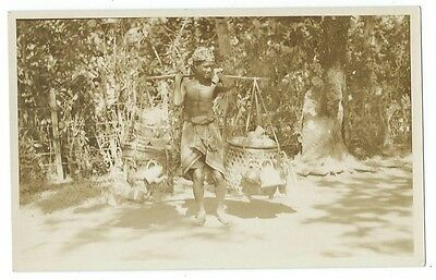 Ethnic Asia Indonesia Macassar Makassar Native Carrying Food Water and Kettle RP