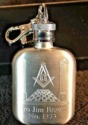*MASONIC PERSONALISED KEYRING HIP FLASK WITH  ANY NAME AND LODGE No YOU WISH