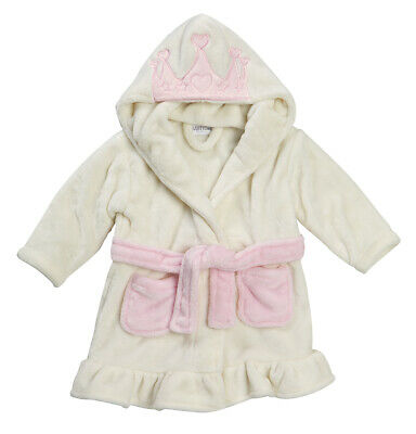 Infant Baby Girls Dressing Gown Novelty Fairy Princess Hooded Fleece Robe 6-24m