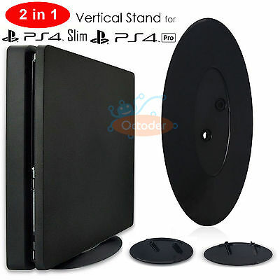 Universal 2 in 1 Vertical Stand Station Base For Sony PS4 Slim /PS4 Pro Console