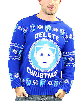 Doctor Who Christmas Jumper Cyberman Delete new blue unisex official