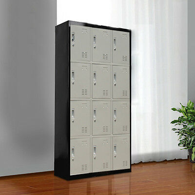 New 12-Door Storage Lockers Cabinet Office Gym Shed Home Furniture