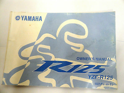 Genuine 2007-On Yamaha Yzf-R125 Yzfr125 Owners Manual 5D7-F8199-E0 2008