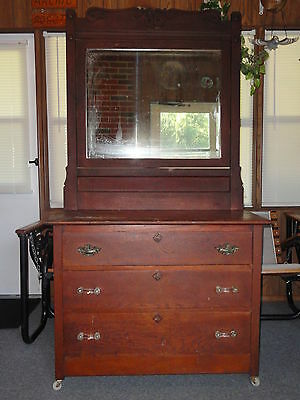 Vintage Solid Wood Dresser with Large Mirror and Glass Pulls Shabby Chic