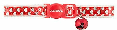 Ancol Reflective Gloss Hearts Safety Cat Collar, RED