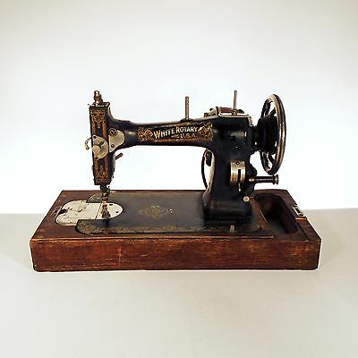 Antique White Rotary Sewing Machine With Original Wood Base