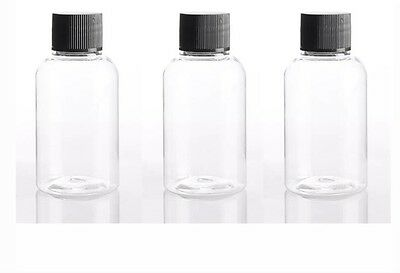 3 x 50mL Clear PLASTIC BOTTLES with Black Watertight ScrewCaps, Ideal For Travel