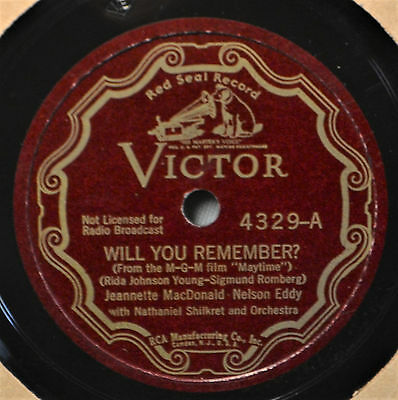 Jeanette MacDonald Nelson Eddy Will You Remember Farewell Dream Victor Scroll 78