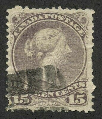 Canada 1868 Large Queen 15c brownish purple Perf 11.5x12 #29a used