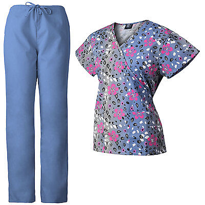 MedGear Womens Scrubs Set Printed Scrub Top & Matching Ceil Blue Pants 109FCCL