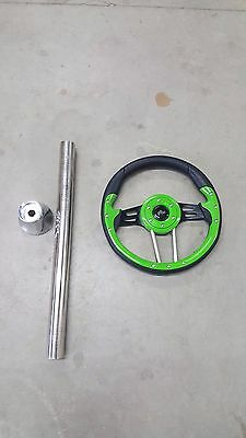 Ez Go Golf Cart Part Steering Wheel Combo With Adapter 1994-2000 TXT  Lime Green