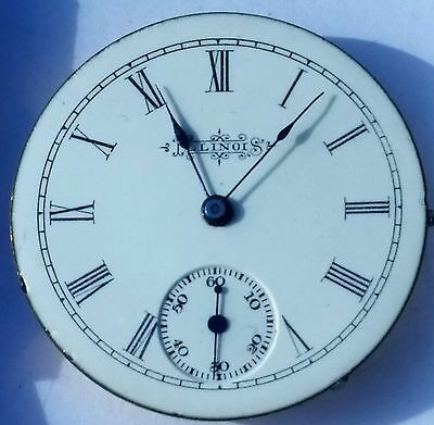 Illinois 4s 7j pocket watch movement nice dial hands ticking very clean F4122