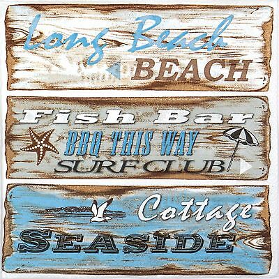 4x Paper Napkins - Beach Signs - for Party, Decoupage Craft
