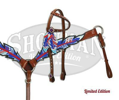 Showman LIMITED EDITION Red/White/Blue Feather Headstall & Breast Collar Set!