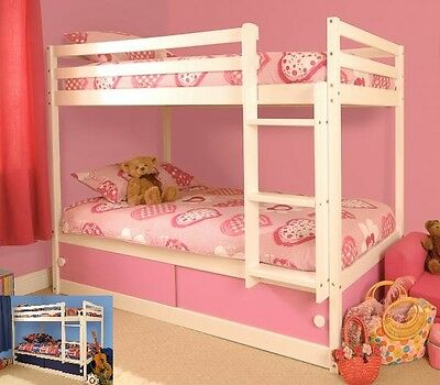 Solid Pine Kids Childrens White Single Bunk Bed With Storage And Mattresses