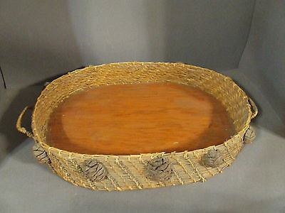 Vintage Pine Needle Basket Tray With Pinecone Accents