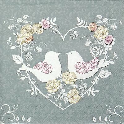 4 Single Table Party Paper Napkins for Decoupage Decopatch Craft Turtle Doves