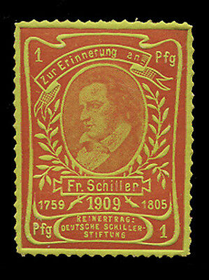 Germany - 1909 - Schiller Anniversary Poster Stamp - Red On Yellow Green