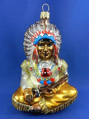 Native American Indian Chief Blown Glass Christmas Tree Ornament Poland 011288