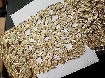 sari cut work GOLD  Indian wedding dance costume ribbon paisley flower applique