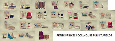 Lot Of Vintage Petite Princess Dollhouse Furniture + Family